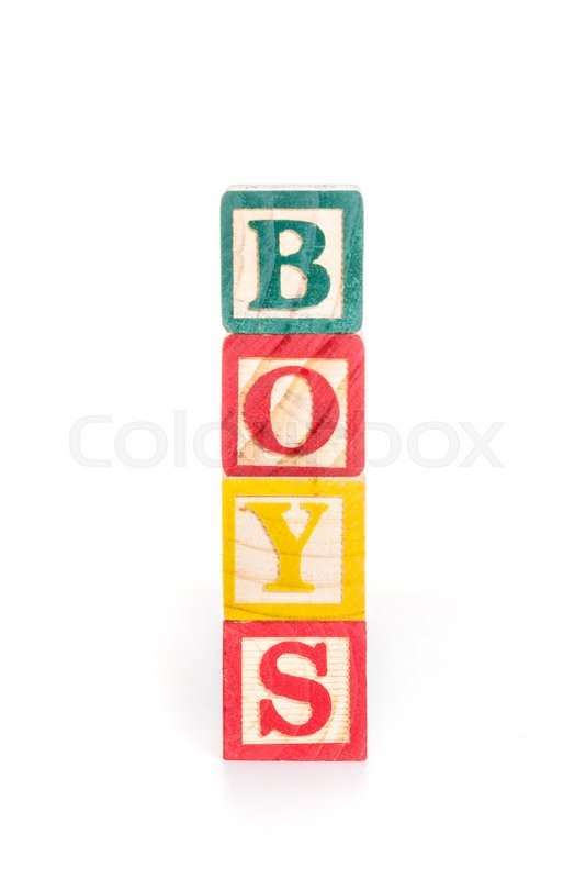 Stock image of 'Photo of a alphabet blocks spelling BOYS isolate on white background'