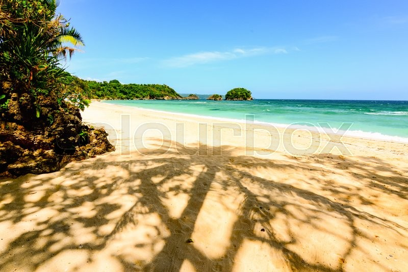 Stock image of 'Palm tree shadow on a beach in Boaracy, Philippines'