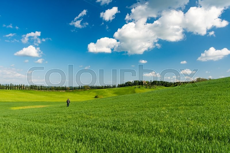 Stock image of 'SIENA, ITALY - APRIL, 10, 2016 - A tourist set in a scenic landscape of the Tuscan countryside a few steps from the city of Siena.'