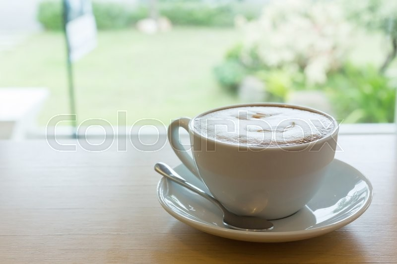 Stock image of 'Hot coffee caramel macchiato in the morning'