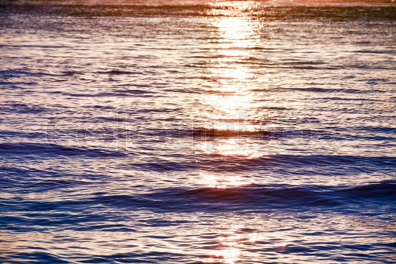 Stock image of 'The sunlight that is reflected in the sea water at sunset'