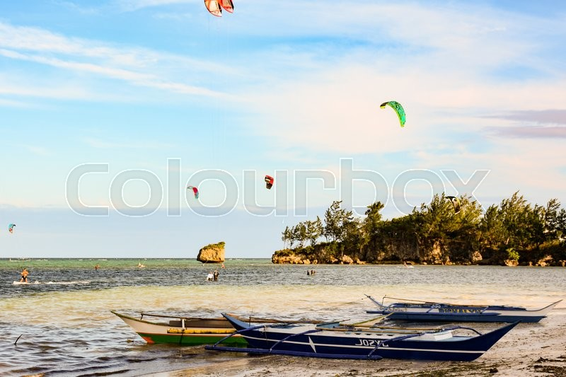 Editorial image of 'View of a beach in Boracay Island, Philippines'