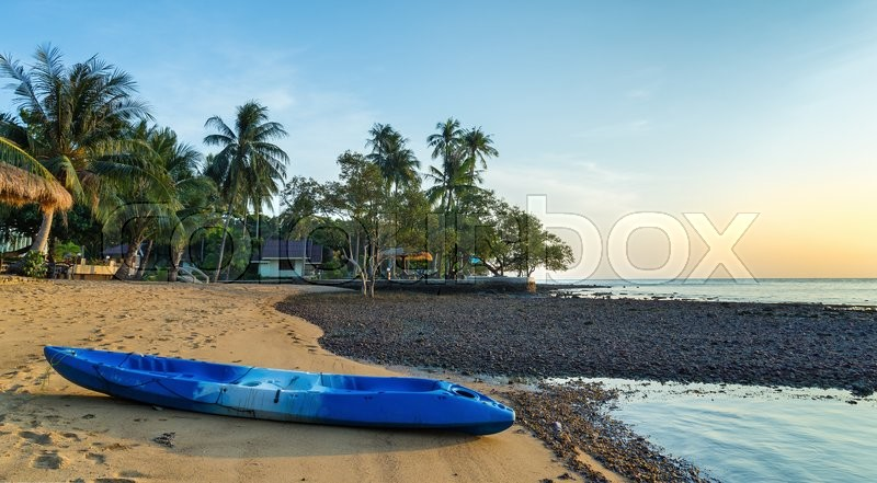 Stock image of 'Kayak on the shore of a tropical beach on the island in Thailand'