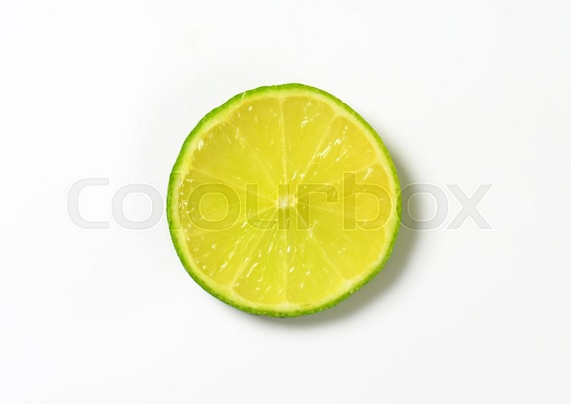 Stock image of 'Single fresh lime slice on white background'