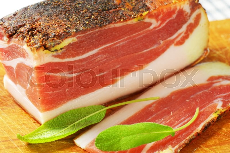 Stock image of 'Dry-cured, lightly smoked Italian ham from South Tyrol'