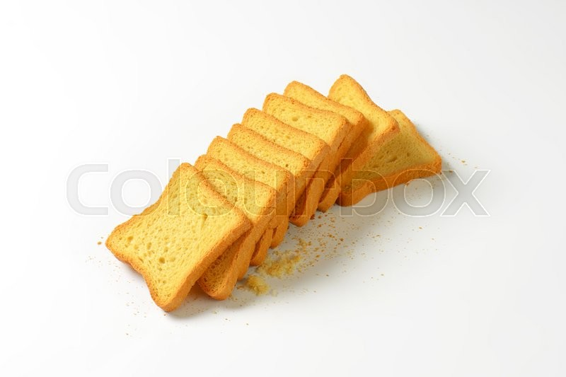Stock image of 'Twice baked sliced white bread'