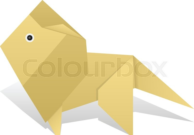 Origami Lion On A White Background