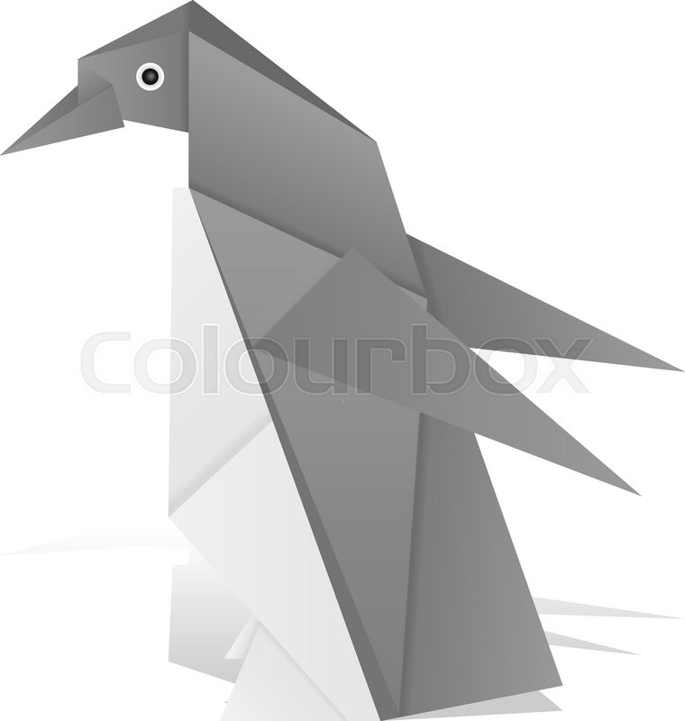 Origami Penguin On A White Background