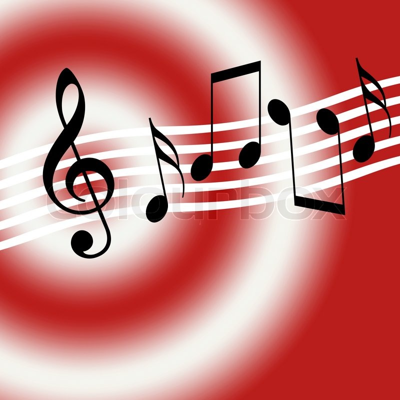 red music background with random musical symbols stock