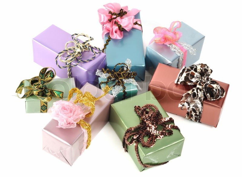 Beautiful christmas gift boxes isolated on white stock - How to make beautiful gift box ...