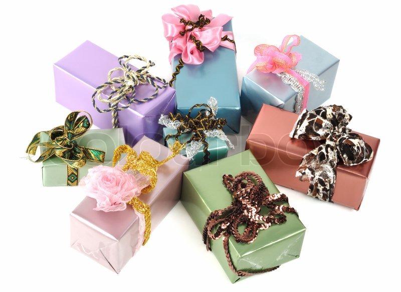 Beautiful christmas gift boxes, isolated on white | Stock Photo ...