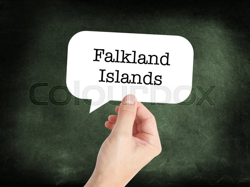 Stock image of 'Falkland Islands concept in a speech bubble'