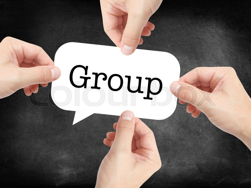 Stock image of 'Group written on a speechbubble'