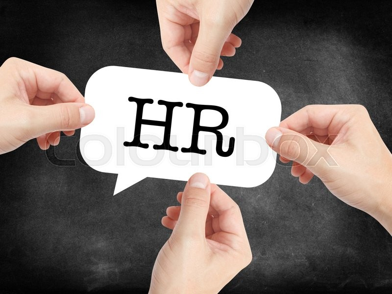 Stock image of 'HR written on a speechbubble'