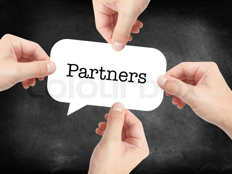 Stock image of 'Partners written on a speechbubble'