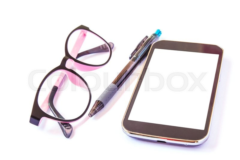 Stock image of 'Smart phone glasses and pen on a white background. close up'