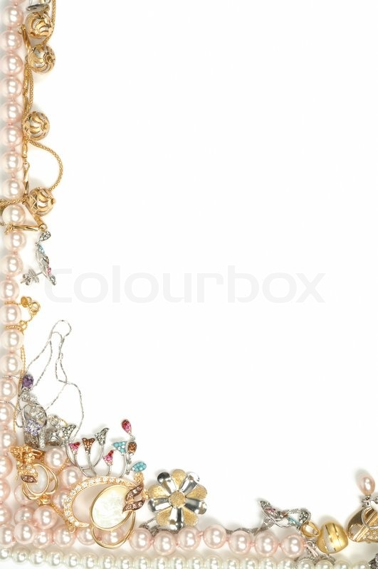 Border from gold jewelry, isolated on ...   Stock image ...