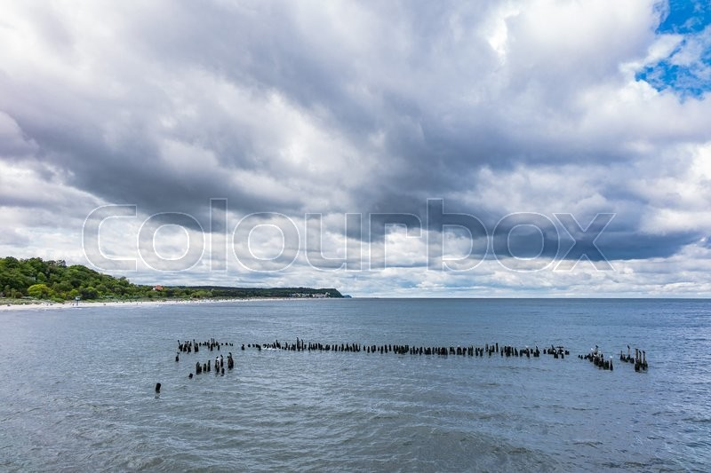 Stock image of 'Groynes in Heringsdorf on the island Usedom (Germany).'