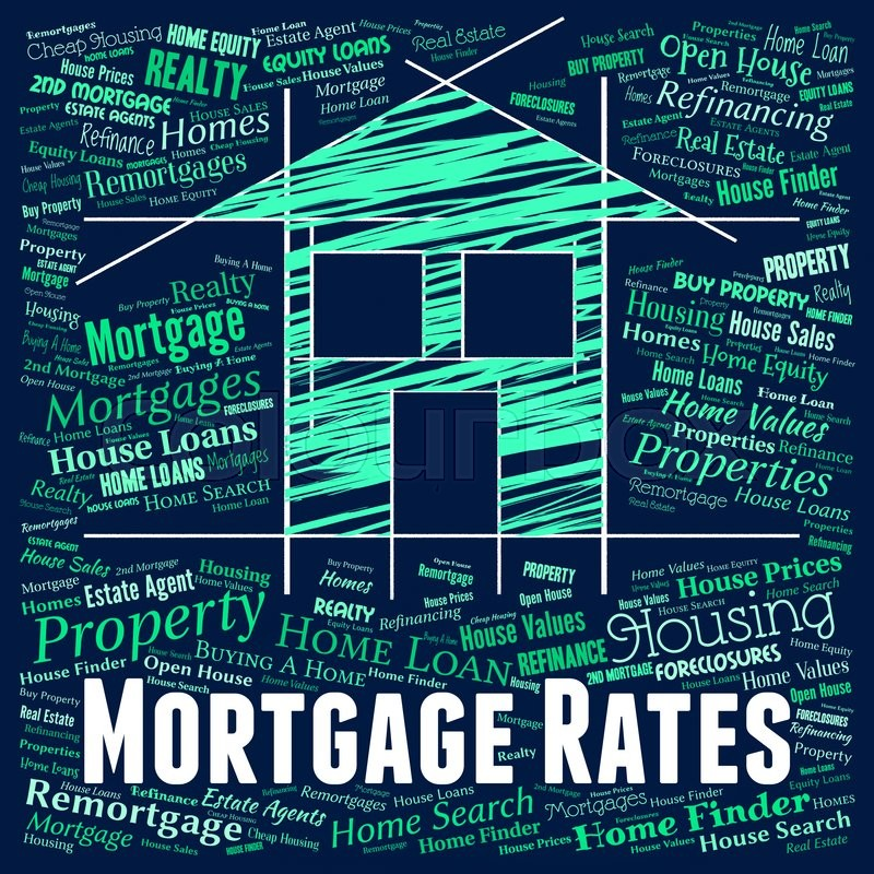 Mortgage Rates Indicating Real Estate And Houses, stock photo