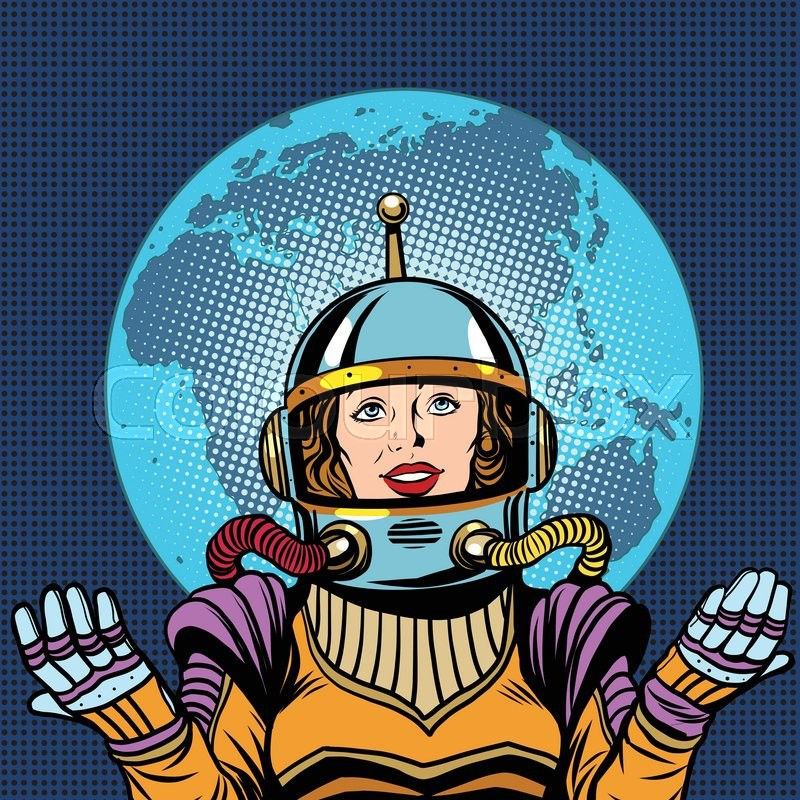 Woman astronaut a symbol of life on planet Earth pop art ...