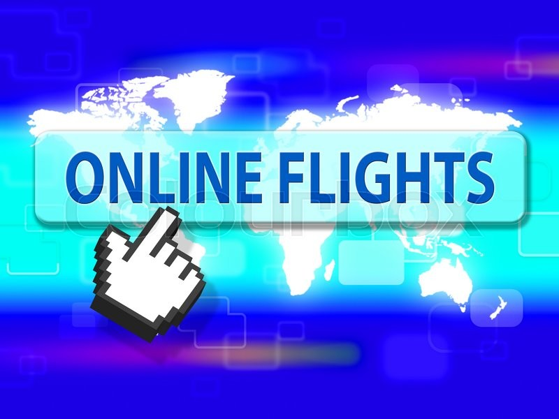 Stock image of 'Online Flights Indicating Web Site And Airplane'