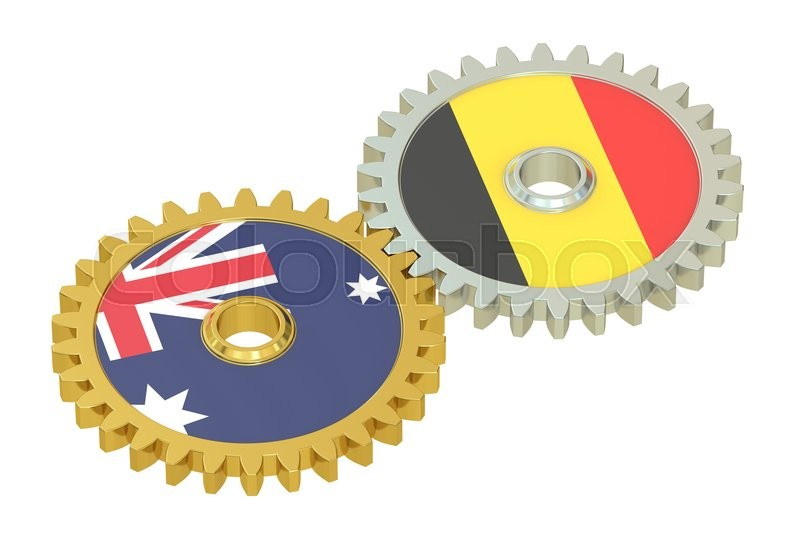 Stock image of 'Australia and Belgium flags on a gears, 3D rendering isolated on white background'
