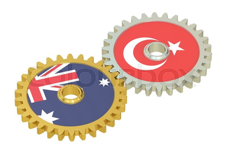 Stock image of 'Australia and Turkey flags on a gears, 3D rendering isolated on white background'