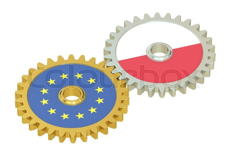 Stock image of 'EU and Poland flags on a gears, 3D rendering isolated on white background'