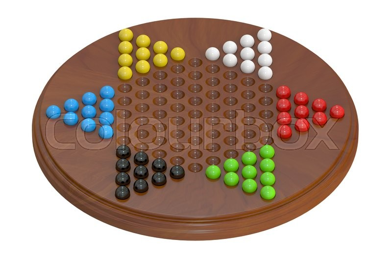 Stock image of 'Chinese checkers, 3D rendering'