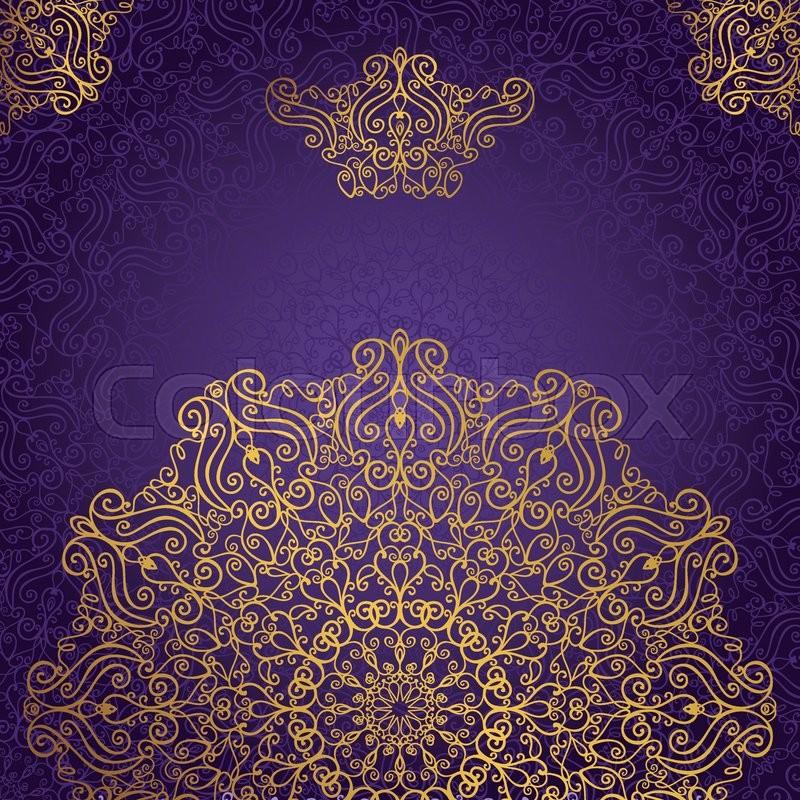 Mandala Pattern And BackgroundVintage Decorative Ornament BackgroundEastIslamArabicIndianottoman Motifs Revival SwirlingGoldviolet Abstract