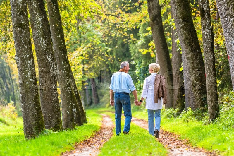 Stock image of 'Couple of senior woman and man holding hands having a walk in autumn forest'