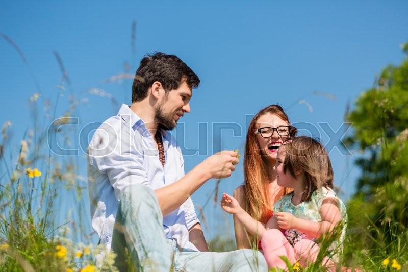 Stock image of 'Family playing with wildflowers on meadow sitting in the grass'