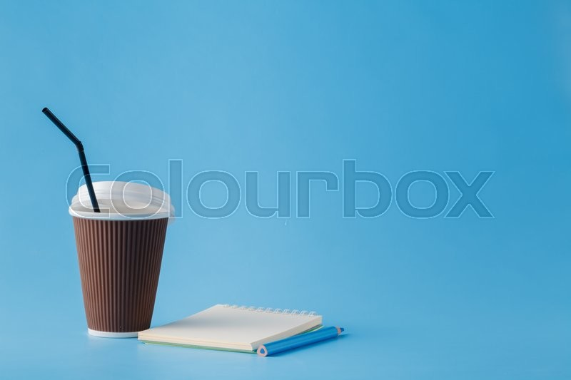 Stock image of 'Good morning concept. Empty space for inscription.Cup of coffee on plain background'