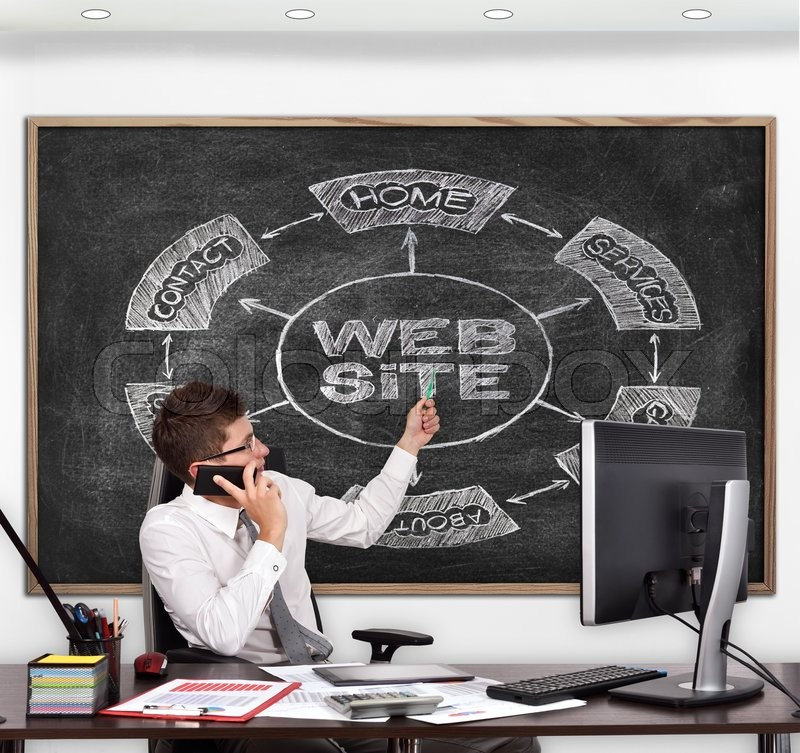 Stock image of 'businessman in room pointing to blackboard with drawing  website  concept'