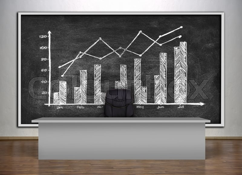 Stock image of 'presentation room in a university and chalk board with drawing chart'