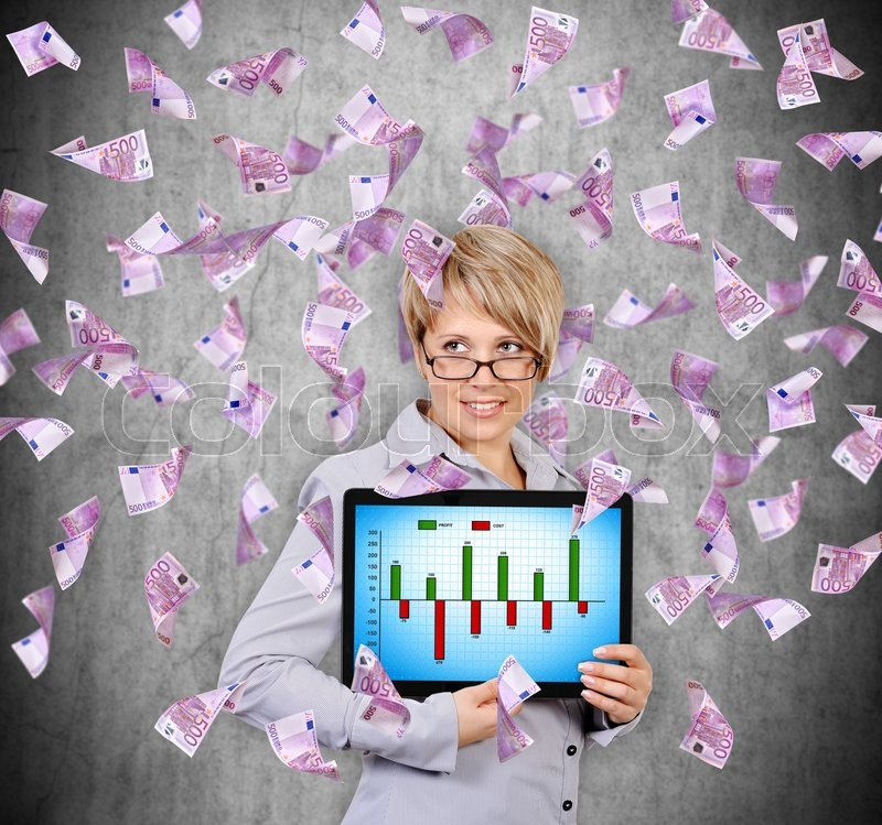 Stock image of 'businesswoman holding digital tablet with chart  and flying euro banknote'