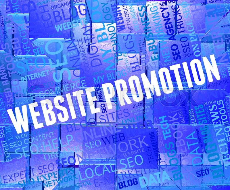 Stock image of 'Website Promotion Shows Reduction Discounts And Internet'