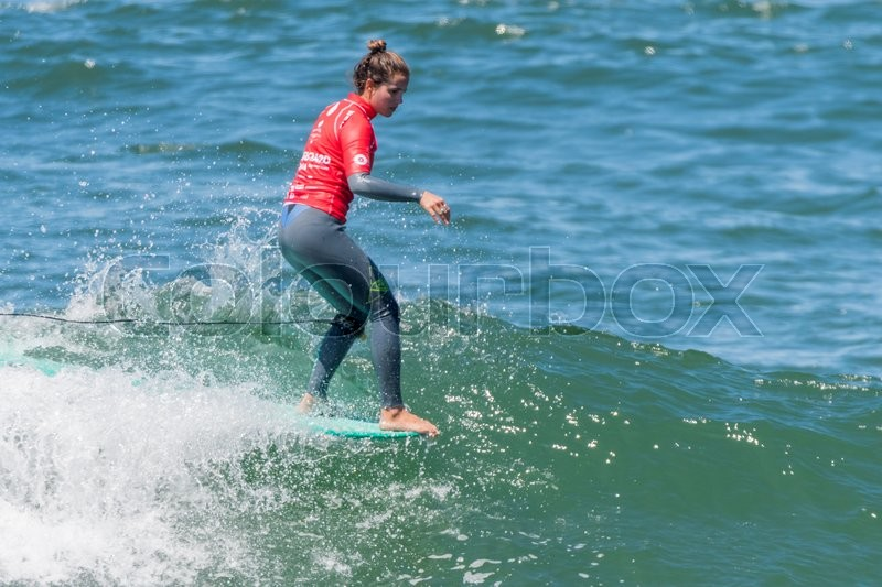 Editorial image of 'GAIA, PORTUGAL - JUNE 11: Surfer at LQS Longboard Pro Gaia Women's Longboard Tour #3.'