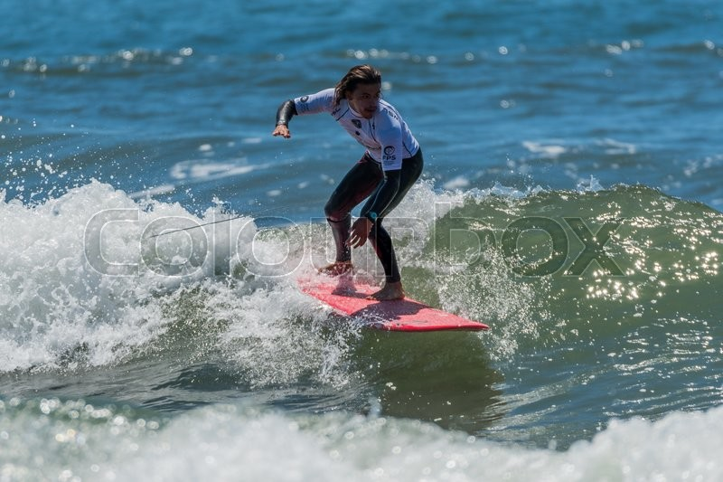 Editorial image of 'GAIA, PORTUGAL - JUNE 11: Edouard Delpero (FRA) at LQS Longboard Pro Gaia Men's Longboard Tour #3.'
