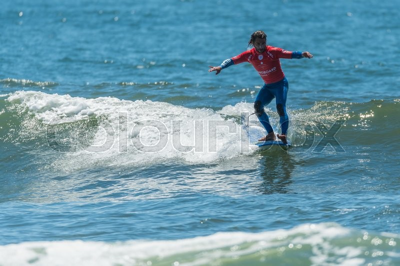Editorial image of 'GAIA, PORTUGAL - JUNE 11: Emilien Fleury (FRA) at LQS Longboard Pro Gaia Men's Longboard Tour #3.'