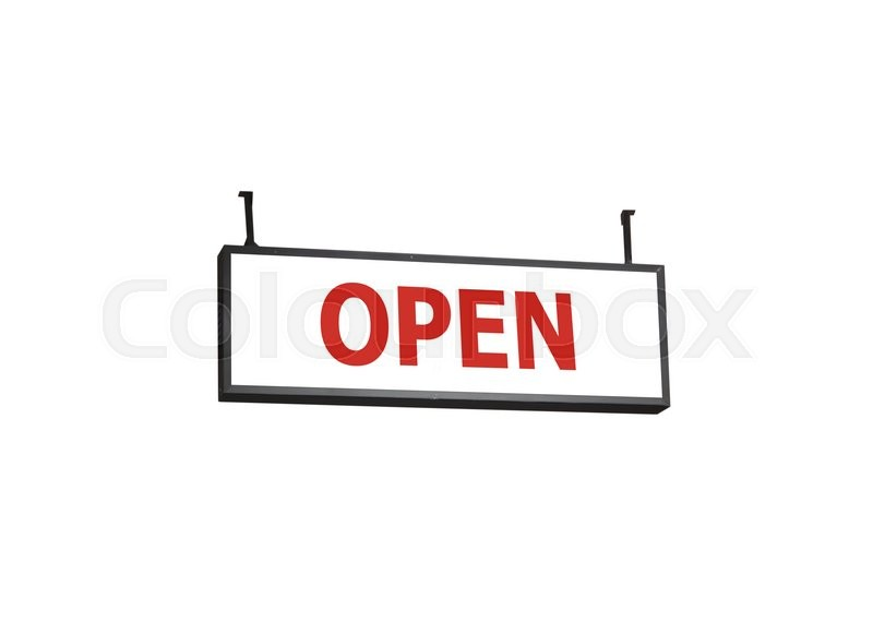 Stock image of 'Open signboard on white background, stock photo'