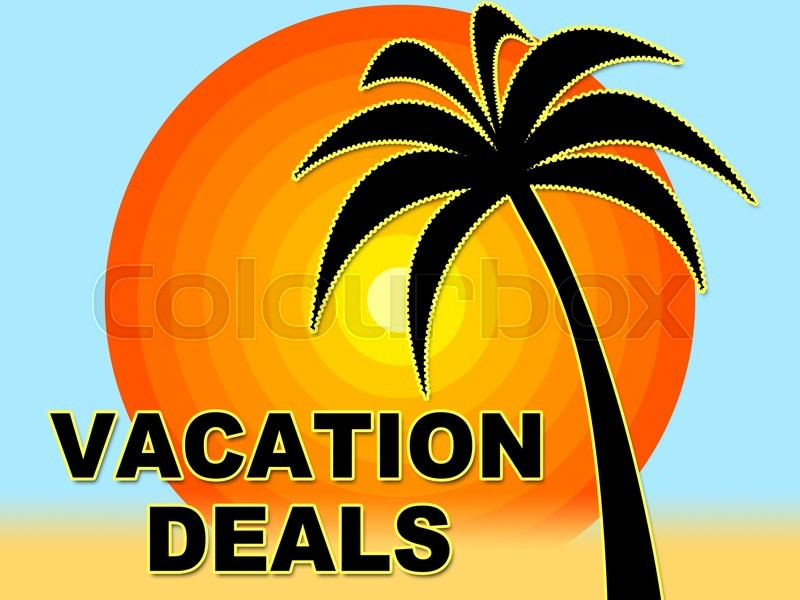 Stock image of 'Vacation Deals Indicating Vacational Save And Offers'