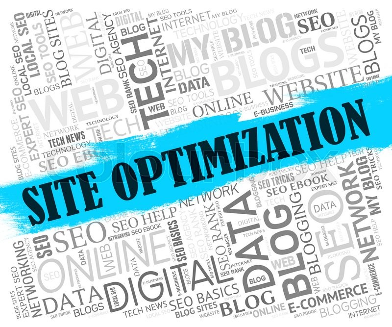 Stock image of 'Site Optimization Showing Optimize Search And Online'