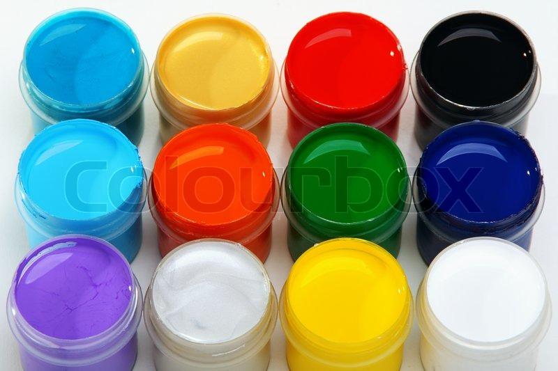 set acrylfarben zum bemalen gewebe auf einem wei en hintergrund stockfoto colourbox. Black Bedroom Furniture Sets. Home Design Ideas