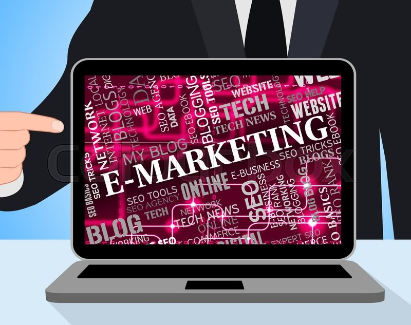 Stock image of 'Emarketing Laptop Indicating Promotions Pc And Internet'
