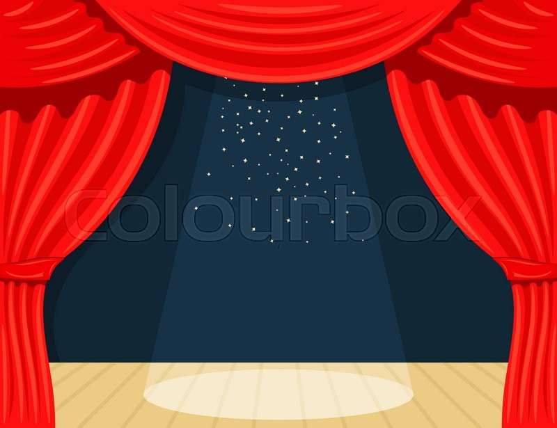 Cartoon Theater Curtain With Spotlights Beam And Stars Open Red Silk Side Scenes On Stage Stock Vector