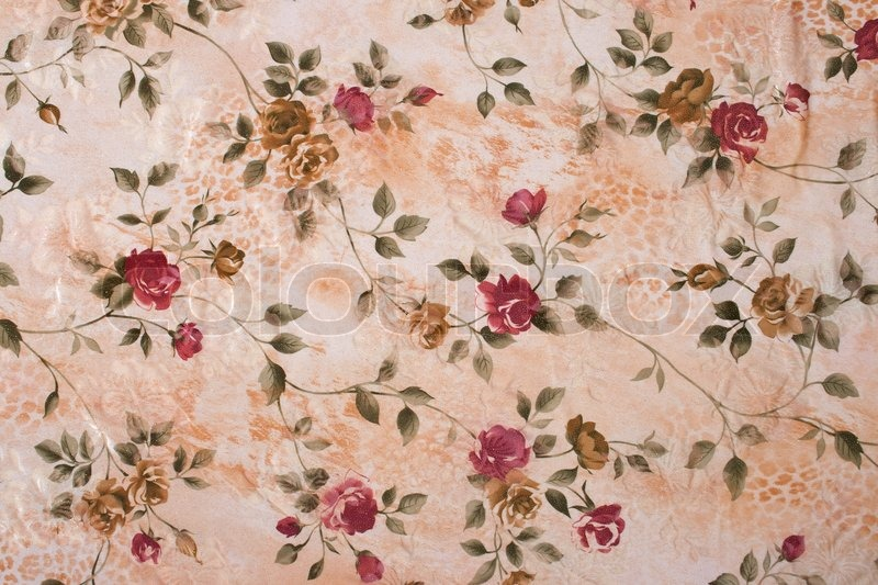 cloth with printed pattern red and brown rose on a beige background