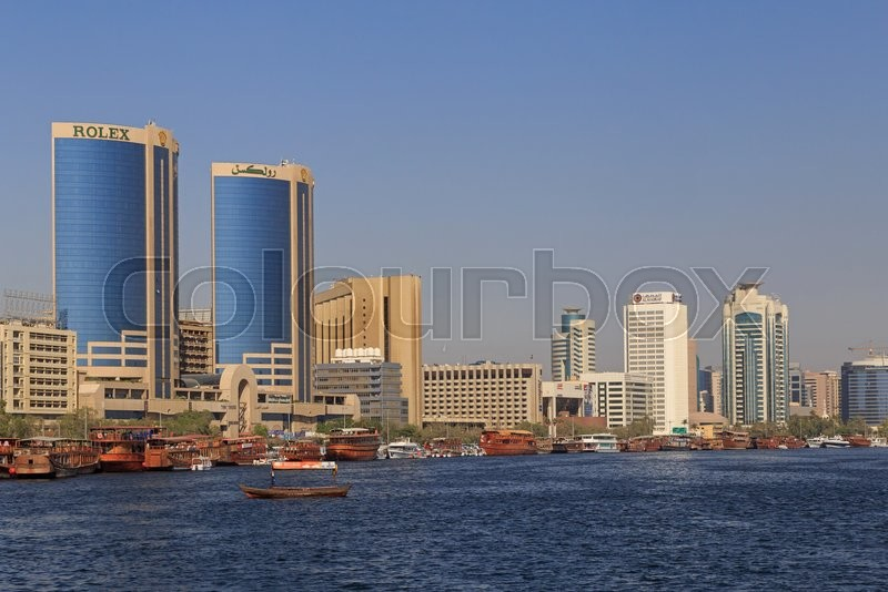 Editorial image of 'Sight of Dubai Creek with Twin Towers building'