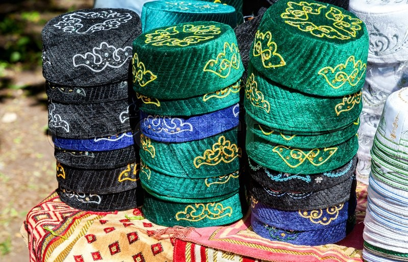 Editorial image of 'SAMARA, RUSSIA - MAY 28, 2016: Traditional tatar national embroidered skullcaps ready for sale during the Sabantuy holiday'