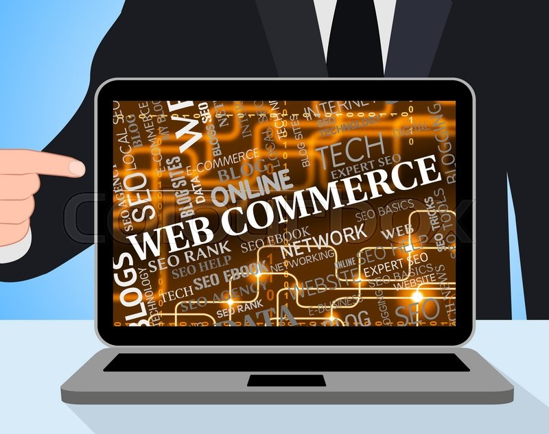Stock image of 'Web Commerce Indicating Laptop Online And Websites'